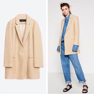 Zara Beige Textured Oversized Blazer Jacket - M